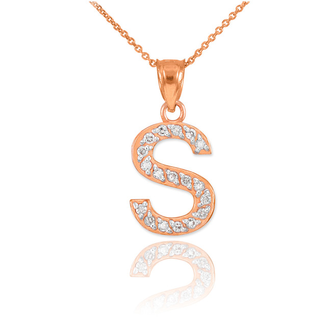"Rose Gold Letter ""S"" Diamond Initial Pendant Necklace"