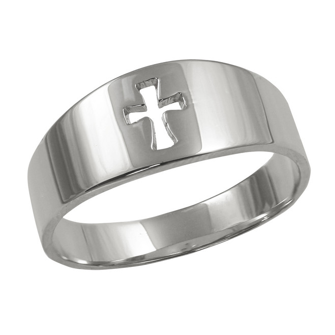 Sterling Silver Cut-Out Cross Ring