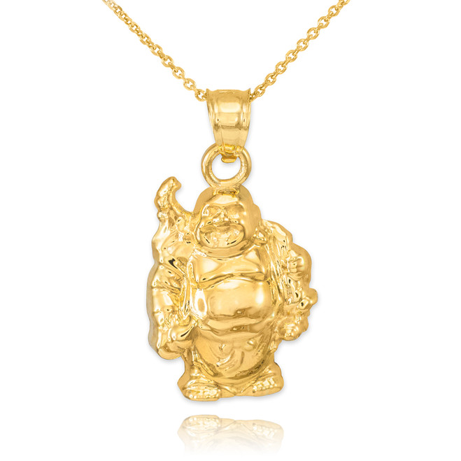 Gold Laughing Buddha Pendant Necklace