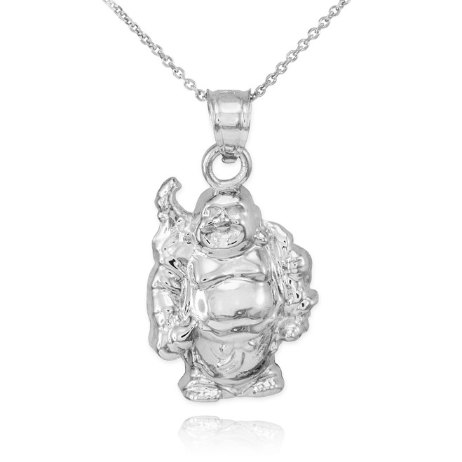 White Gold Laughing Buddha Pendant Necklace