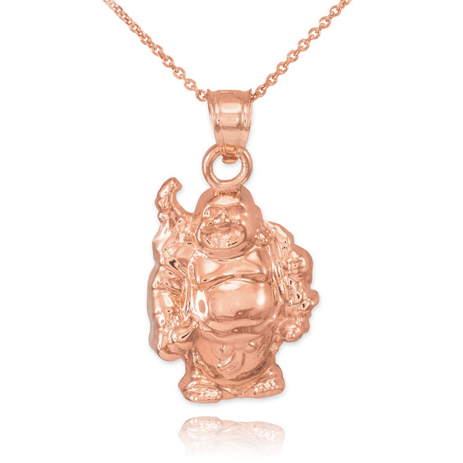 Sterling silver laughing buddha pendant necklace buddha rose gold laughing buddha pendant necklace aloadofball Image collections