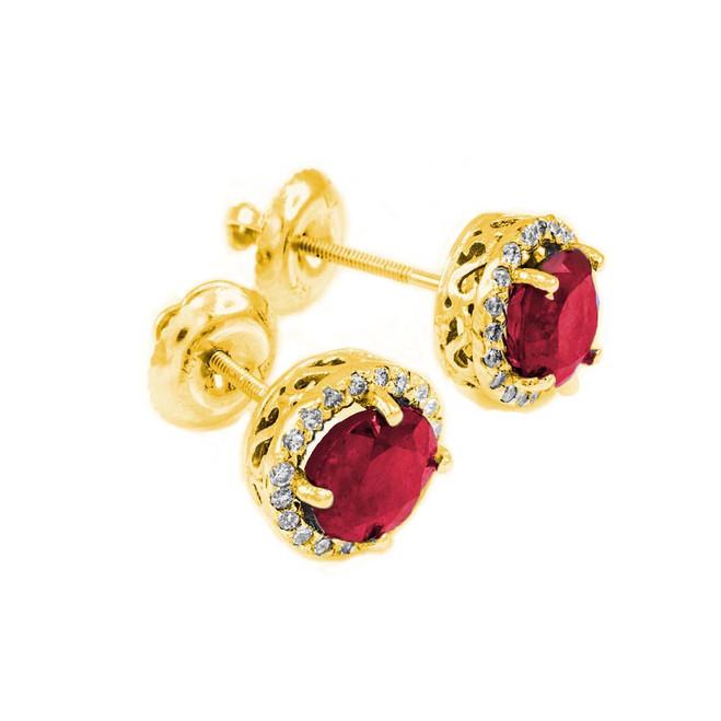 14k Gold Diamond Ruby Earrings