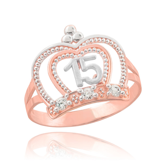 Two-Tone Rose Gold Quinceanera Imperial Crown Ring
