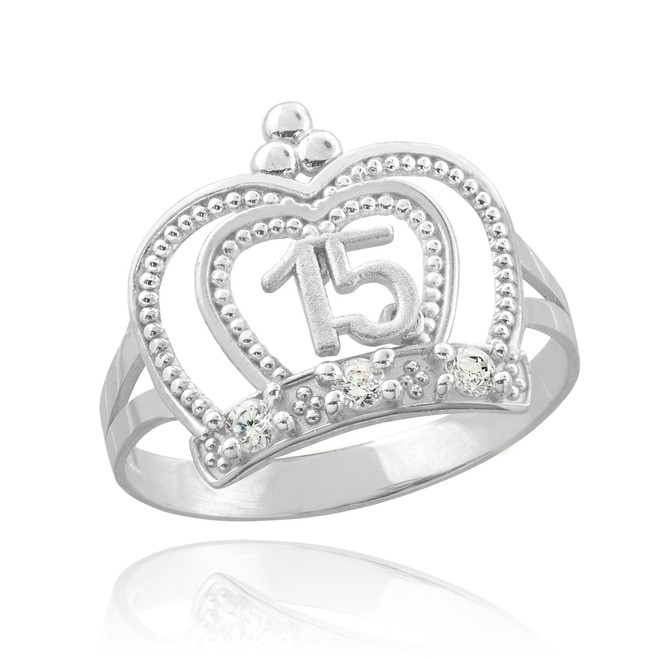 White Gold Quinceanera Imperial Crown Ring