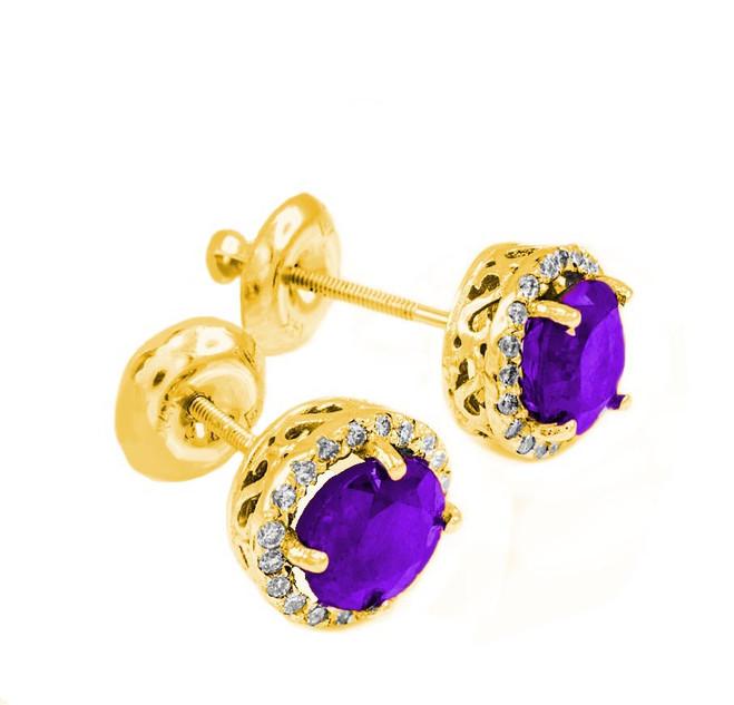 Gold Diamond Amethyst Earrings