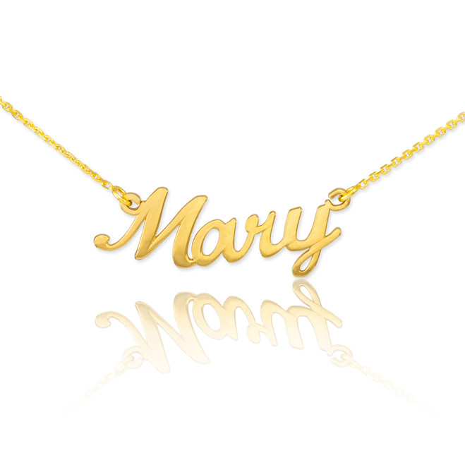 "14k Solid Gold Name Script Necklace ""Mary"""