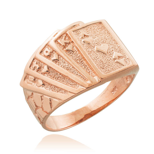 Rose Gold Royal Flush Poker Nugget Ring
