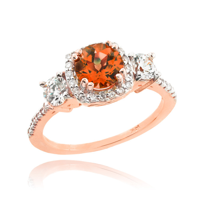 Rose Gold Garnet Diamond Engagement Ring