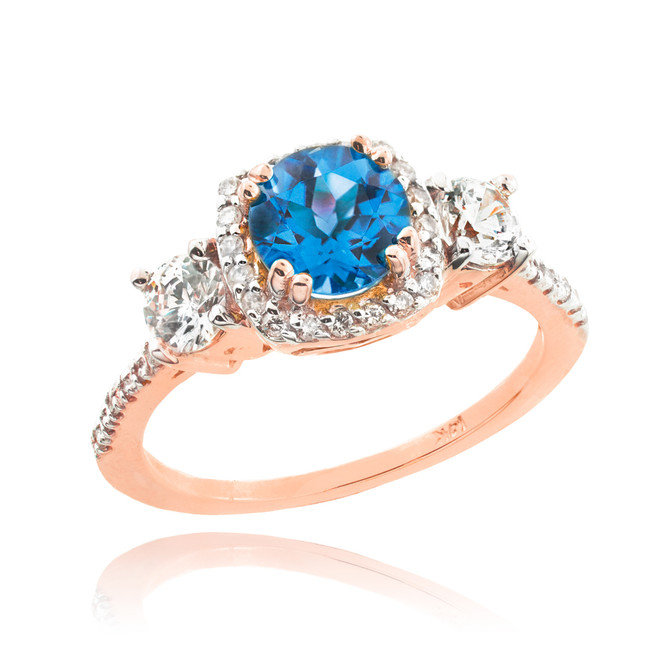 Rose Gold Topaz Diamond Engagement Ring