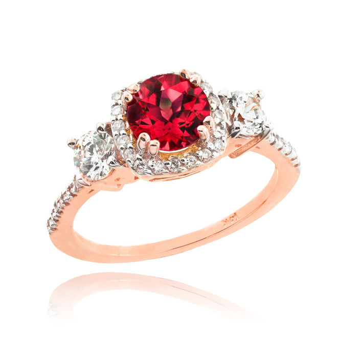 Rose Gold Ruby Diamond Engagement Ring