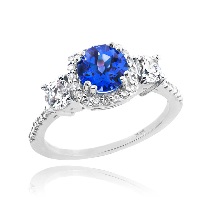 White Gold Sapphire Diamond Engagement Ring