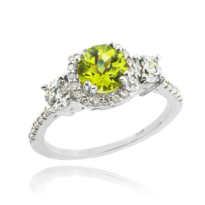 White Gold Peridot Diamond Engagement Ring