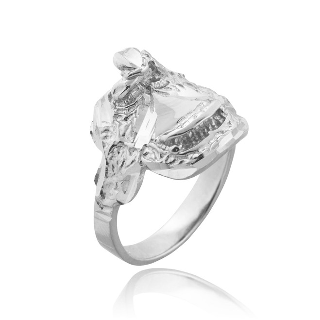 White Gold Horse Saddle Ring