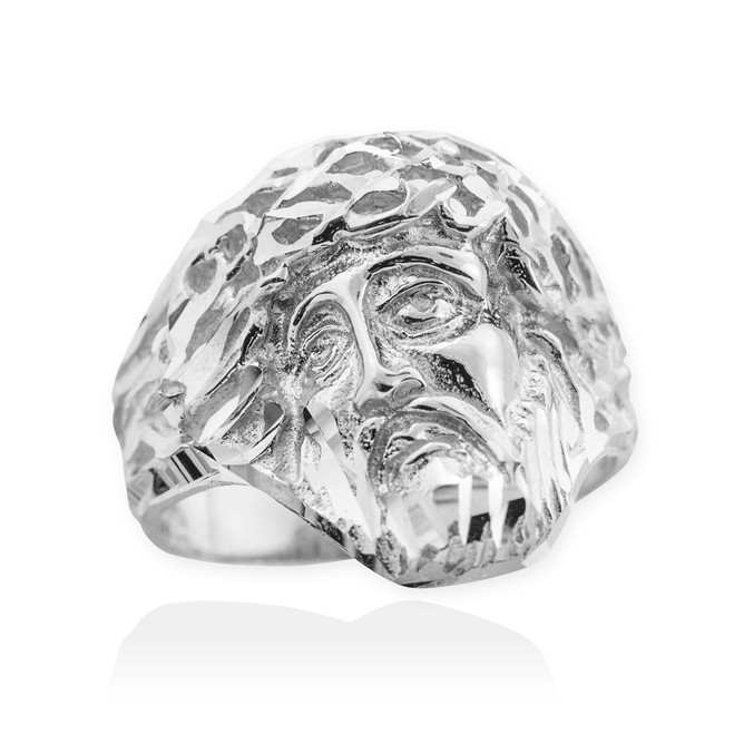 Sterling Silver Jesus Face Diamond Cut Ring