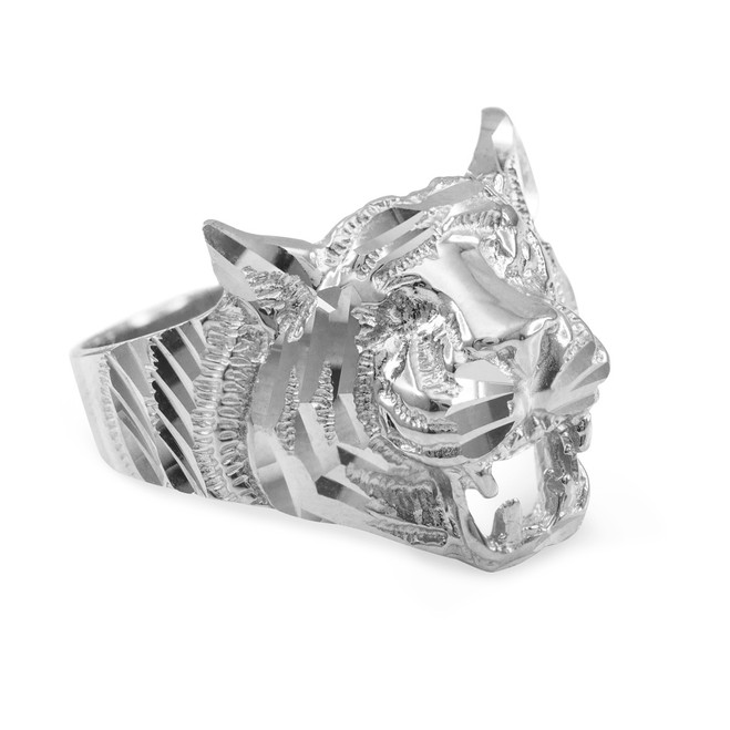 Unisex White Gold Diamond Cut Tiger Ring