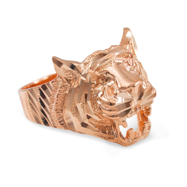 Unisex Rose Gold Diamond Cut Tiger Ring