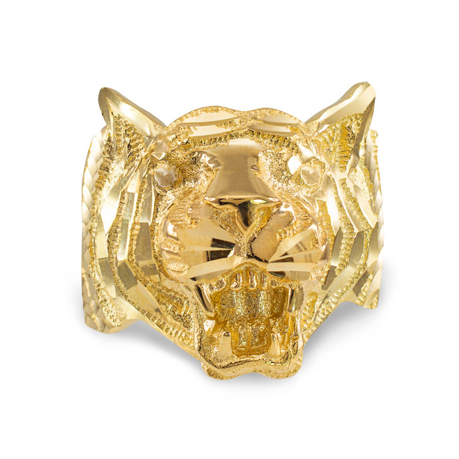 Gold Diamond Cut Tiger Ring