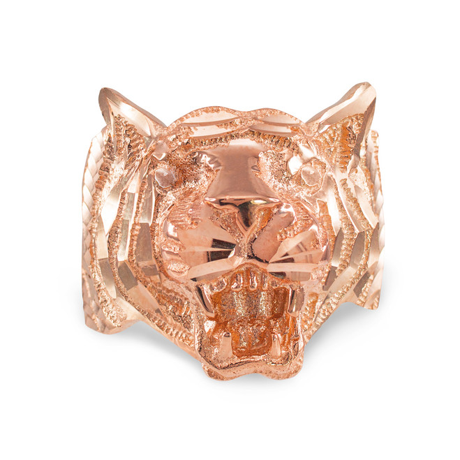 Rose Gold Diamond Cut Tiger Ring