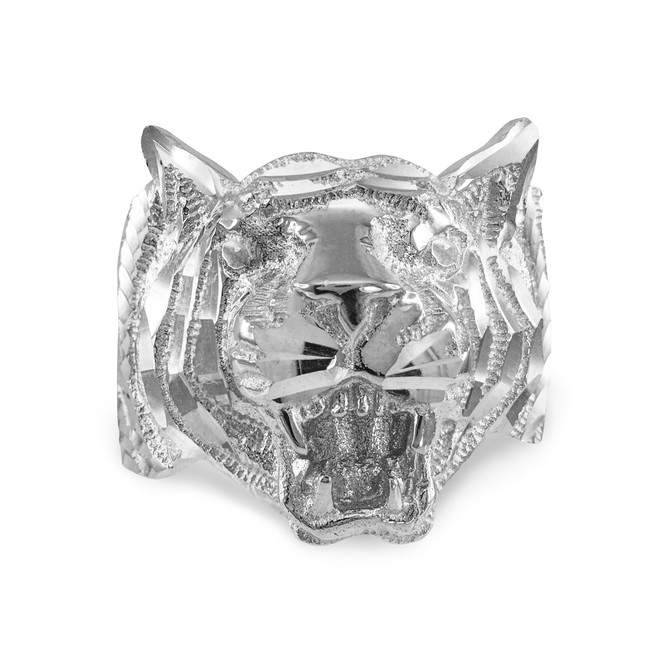 Sterling Silver Diamond Cut Tiger Ring