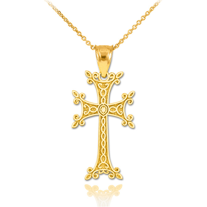 Gold Armenian Cross Pendant Necklace