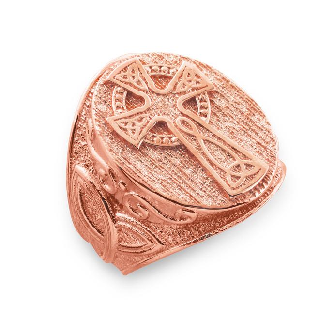 Men's Rose Gold Celtic Cross Trinity Knot Ring