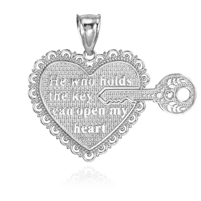 "2pc White Gold ""Key of my Heart"" Deatchable Pendant"