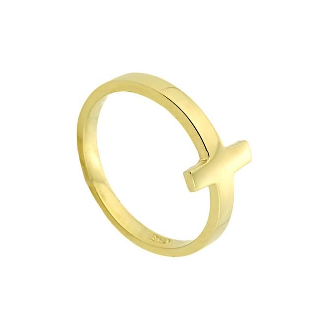 Gold Sideways Cross Toe Ring