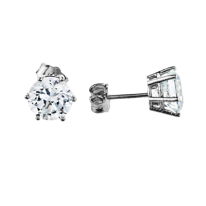 Stud Earrings 14k White Gold, Elegant 6 Prongs Cubic Zirconia Stud Earrings