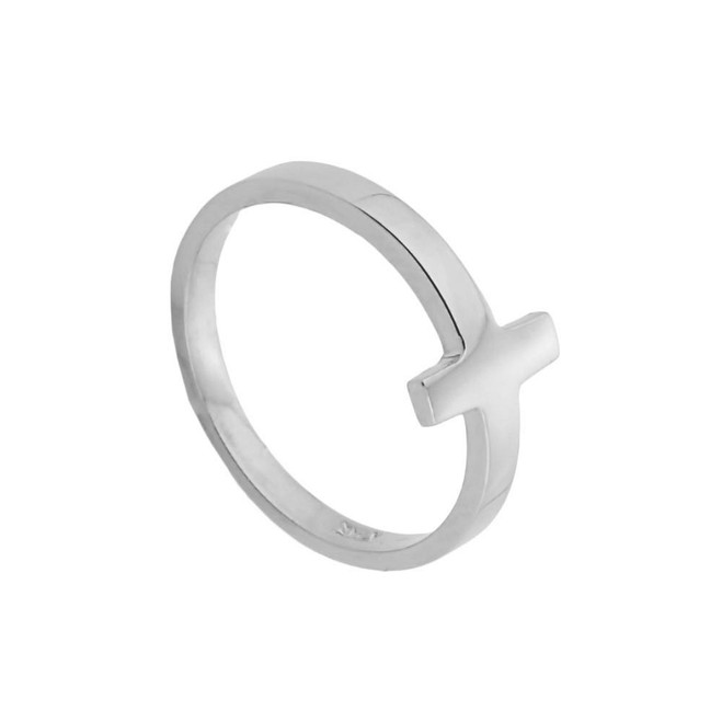 Sterling Silver Sideways Cross Baby Ring