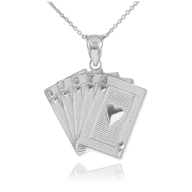 White Gold Royal Flush Poker Pendant Necklace