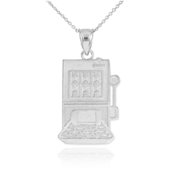 White Gold Casino Slot Machine Pendant Necklace
