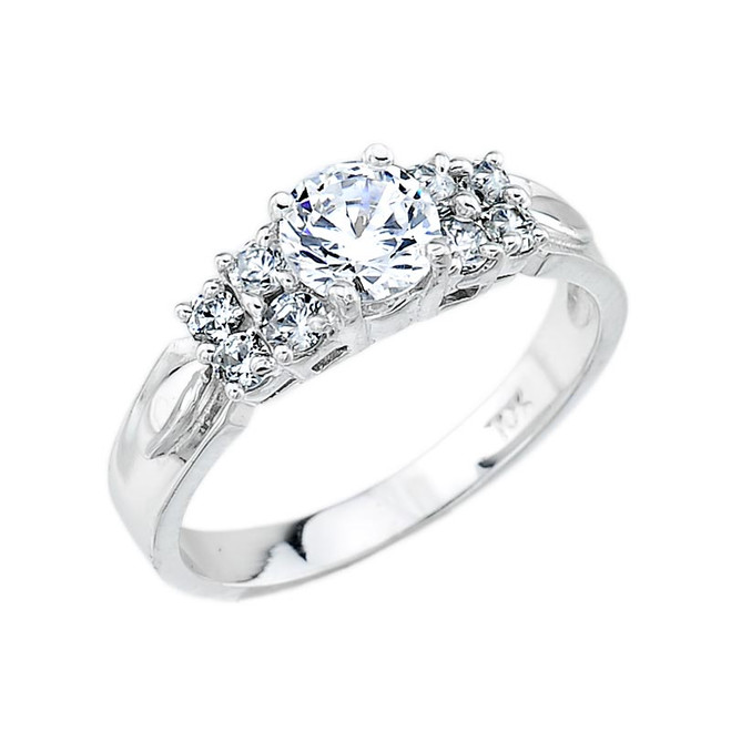 Sterling Silver Classic Round C.Z. Engagement Ring