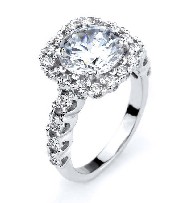 Sterling Silver CZ Halo Engagement Ring