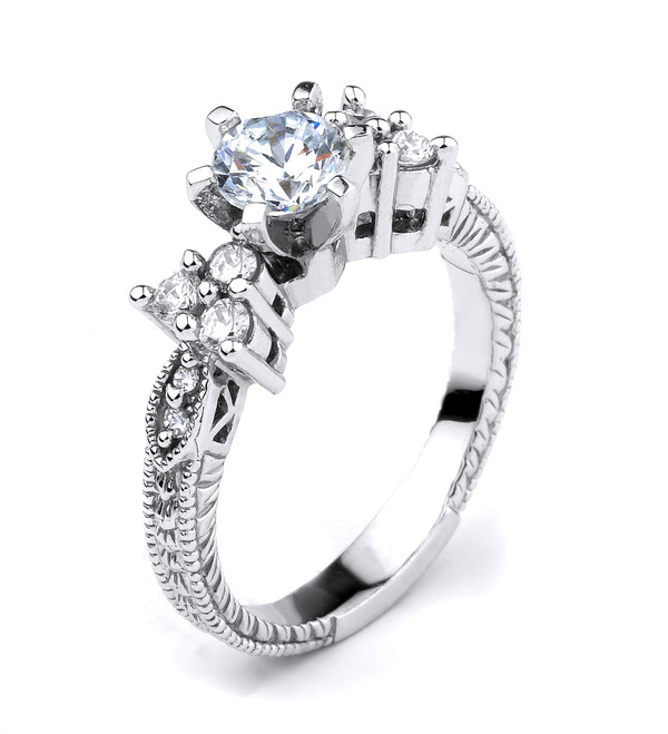 Sterling Silver Round CZ Solitaire Engagement Ladies Ring