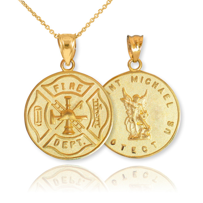 Gold Firefighter Badge Reversible St. Michael Pendant Necklace