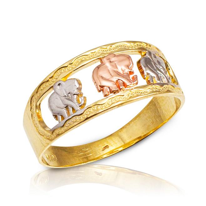 Tri-Tone Gold Elephant Openwork Ring