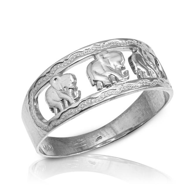 White Gold Elephant Openwork Ring