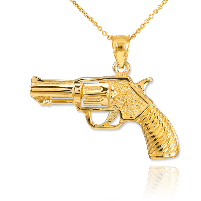 Gold Revolver Gun Pendant Necklace