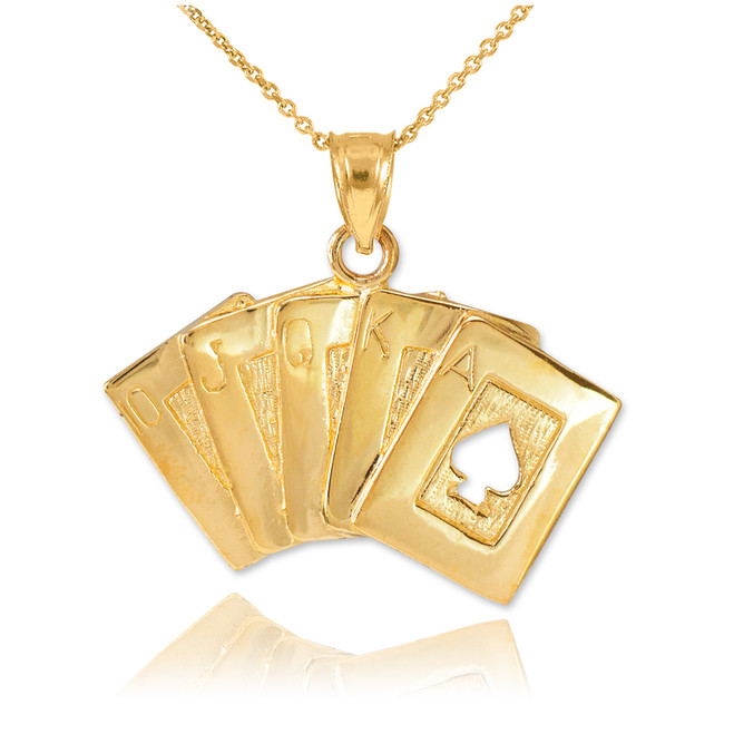 Gold Poker Royal Flush Pendant Necklace