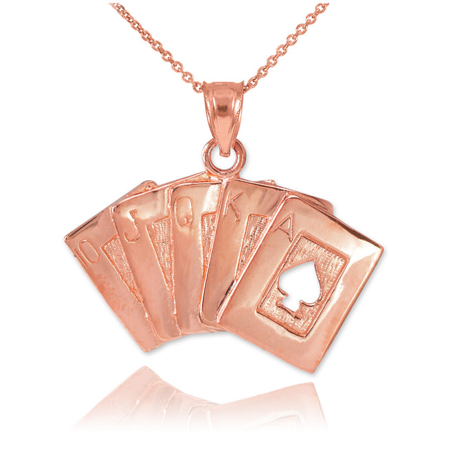 Rose Gold Poker Royal Flush Pendant Necklace