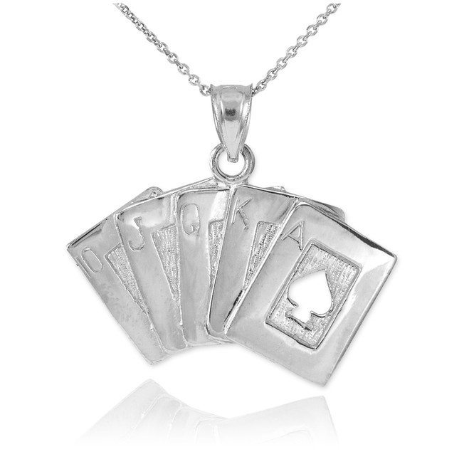 Sterling Silver Poker Royal Flush Pendant Necklace
