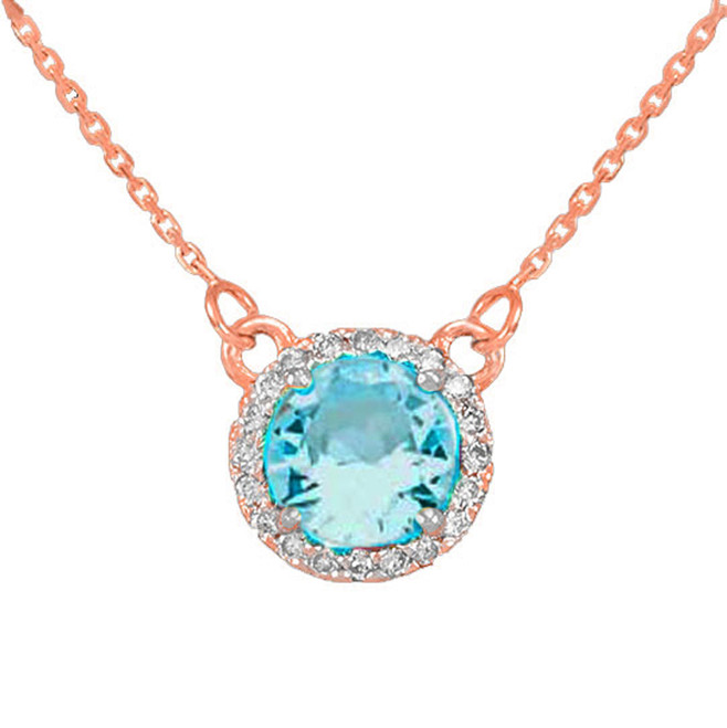 14k Rose Gold Diamond Aquamarine Necklace