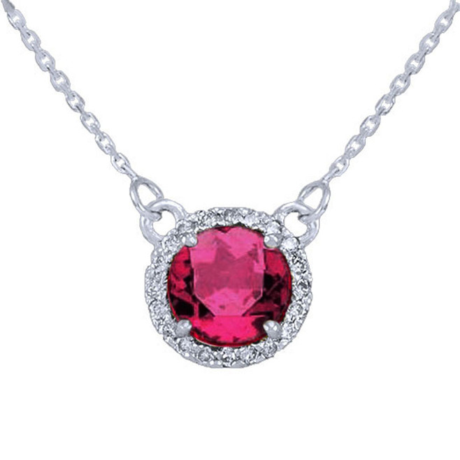 14k White Gold Diamond Alexandrite Necklace