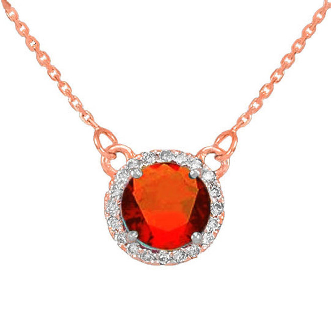 14k Rose Gold Diamond Garnet Necklace