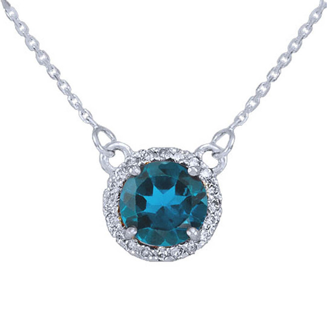 14k White Gold Diamond Blue Topaz Necklace