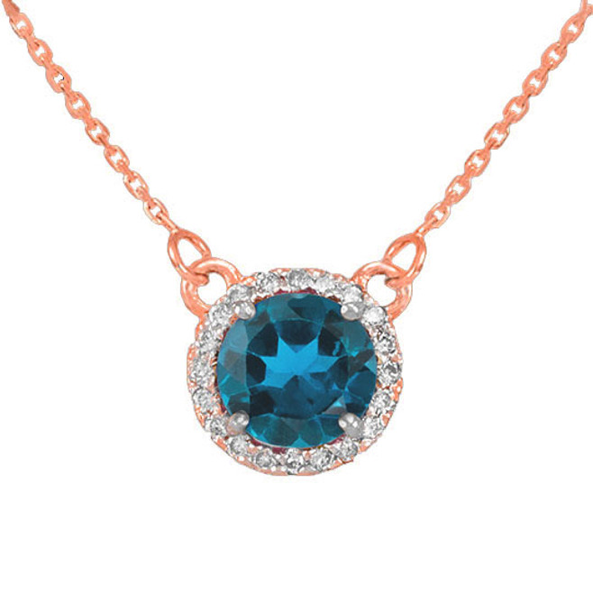14k Rose Gold Diamond Blue Topaz Necklace