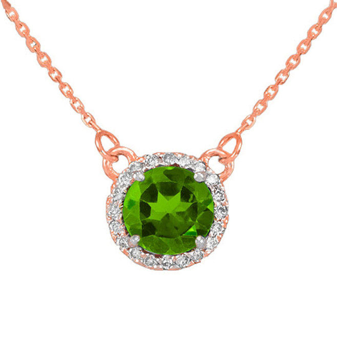 14k Rose Gold Diamond Peridot Necklace