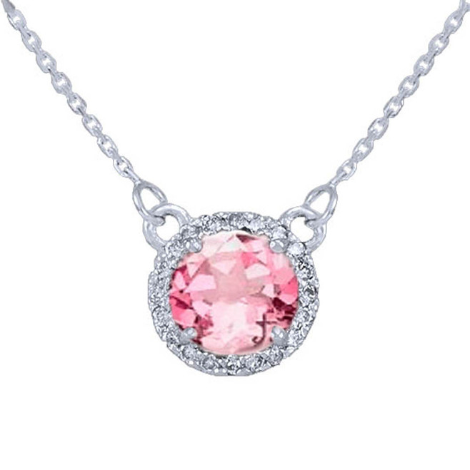 14k White Gold Diamond Pink Tourmaline Necklace