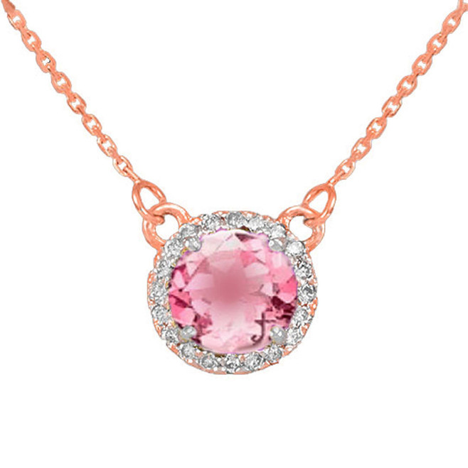 14k Rose Gold Diamond Pink Tourmaline Necklace