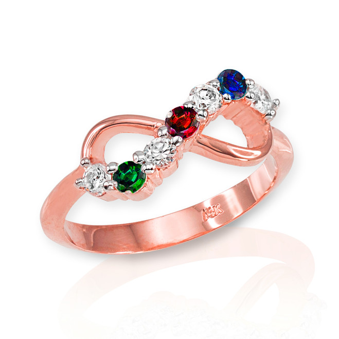 Rose Gold Triple Birthstone Infinity CZ Ring